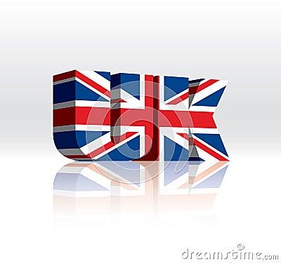 För vektorord för 3D UK (United Kingdom) flagga för text