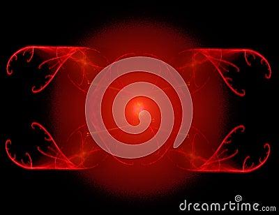 Fractal rendering of red symbol over black