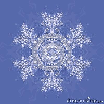 Fractal Snowflake on Blue