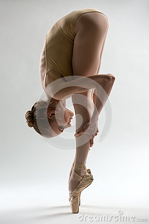 Free Fragile Ballerina Takes A Deep Slope Forward Stock Photos - 53455223