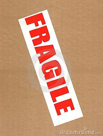 Fragile on cardboard