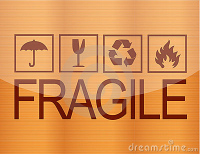 Fragile symbol on wood