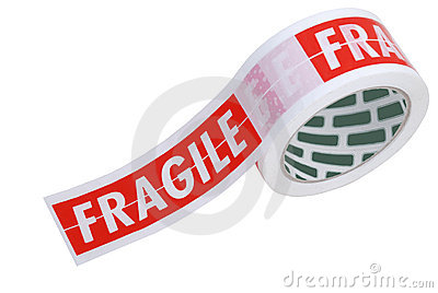 Fragile tape on a roll