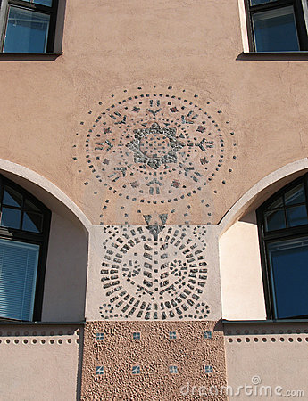 A fragment of a building in Art Nouveau style. Hel