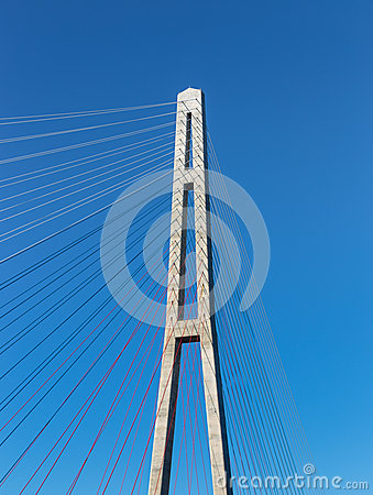 Fragment of a cable stayed bridge. Editorial Photography