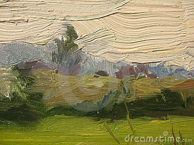 A fragment of the canvas with oil paints.