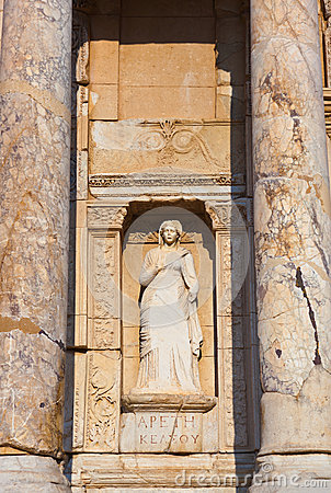 Fragment of Celsius Library in Ephesus Turkey