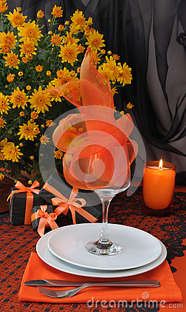 A fragment of a festive table for Halloween