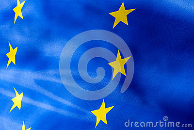 Fragment of a flag of  European Union in sunlight