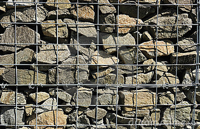 A fragment of gabion wall