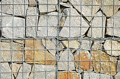 A fragment of gabion wall