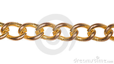 Fragment of gold chain isolated