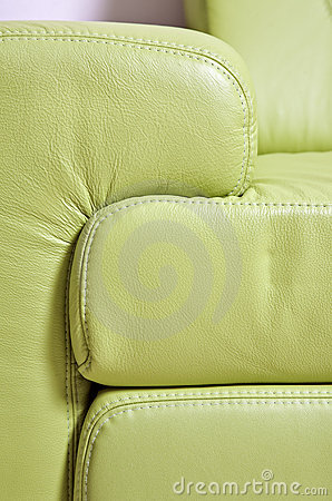 Fragment of green leather sofa