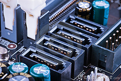 Fragment of the motherboard with SATA sockets