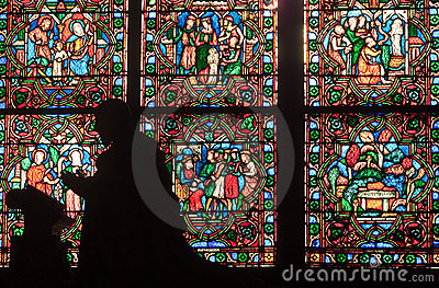 Fragment of stained glass windows. Notre Dame de P