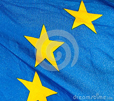A  fragment of the waving European Union Flag