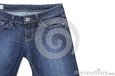 Fragmento das calças de brim no branco