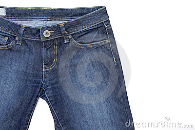 Fragmento de pantalones vaqueros en blanco