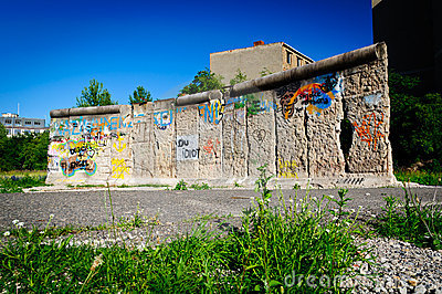 Fragmento do muro de Berlim Foto Editorial