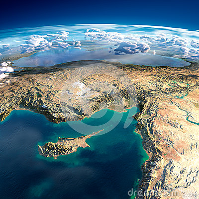 Free Fragments Of The Planet Earth. Cyprus, Syria And Turkey Royalty Free Stock Photo - 40253335