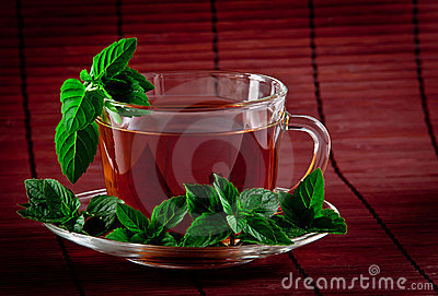 Fragrant tea with fresh leaves of green tea