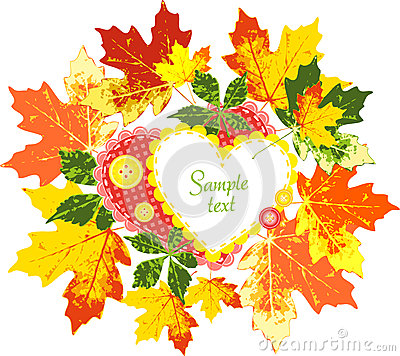Frame of autumn leaves, hearts and buttons