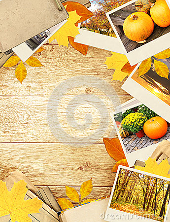 Frame with autumn leaves and photos