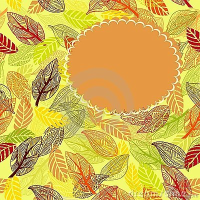 Frame of autumn leaves in vector