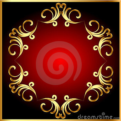Frame background with gold(en) pattern on circle