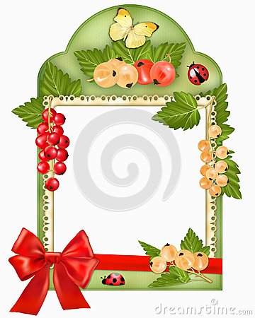 Frame with berries and bow