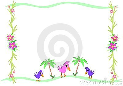 Frame of Birds and Tropical Palms and Plants