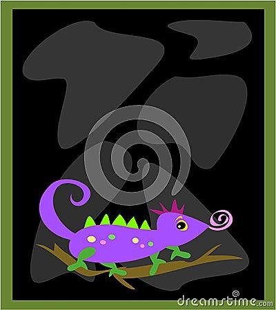 Frame with Black Rocks and Chameleon Lizard