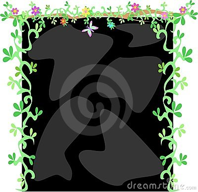 Frame of Black Rocks, Vines, Flowers and Butterfly