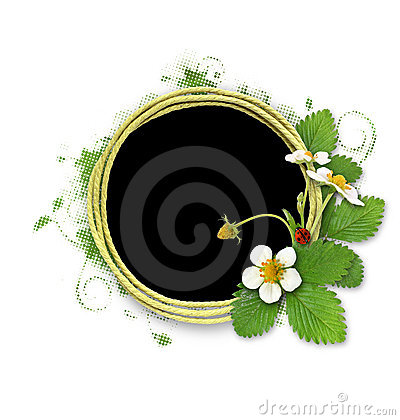 Frame with blooming bush of strawberries