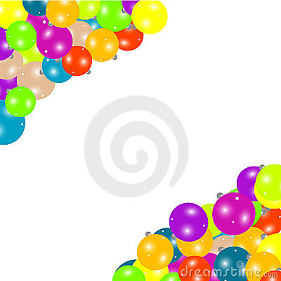 Frame border on Christmas balls isolated on white