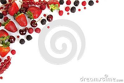Frame border or edge of red fresh summer fruits