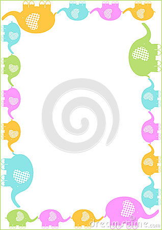 Mother And Elephants Row Frame Border Royalty Free Stock
