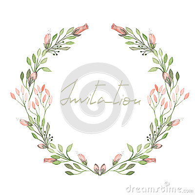 Free Frame Border, Wreath Of  Tender Pink Flowers And Branches With Green Leaves Painted In Watercolor  On A White Background Royalty Free Stock Photos - 61007038
