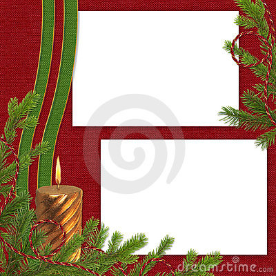 Frame with branches on the claret background