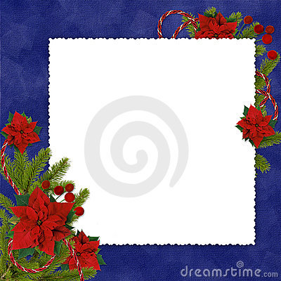 Frame with branches on the dark blue backgroud