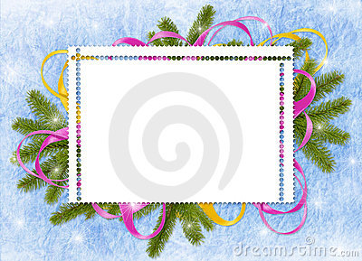 Frame with branches,ribbon on the blue background