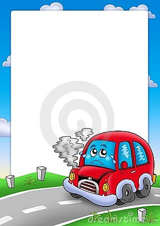 Frame with broken cartoon car