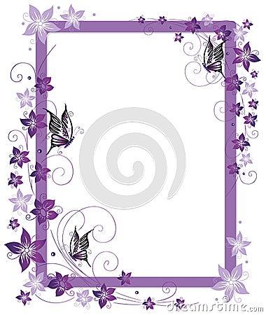 Purple Butterfly Borders Flying butterflies and flowers frame stock ... Purple Top Border Clip Art
