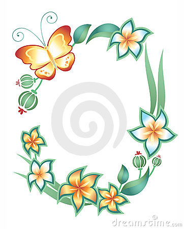 Frame: butterfly, foliage and flowers