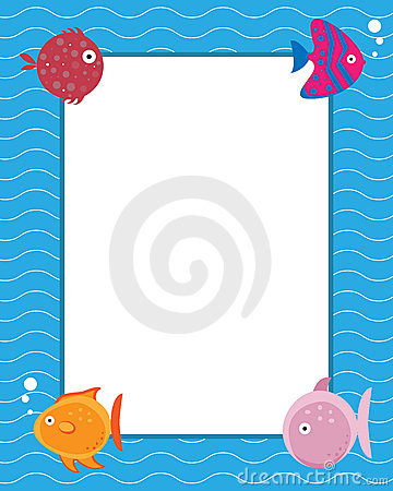 Frame with cartoon fishes