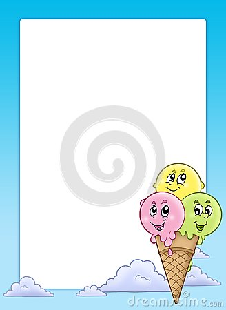 Frame with cartoon ice cream