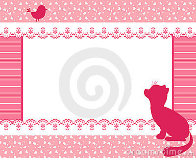Frame with cat and bird.
