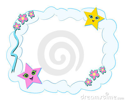 Frame of Clouds, Stars, and Flowers