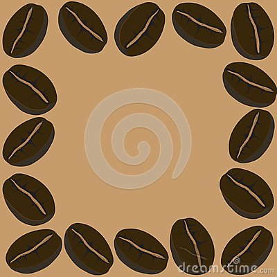 Frame coffee beans, vector