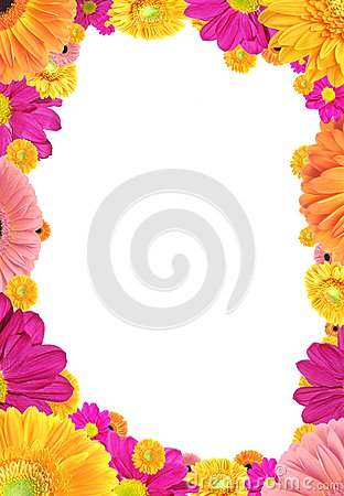 Frame of colorful flowers.